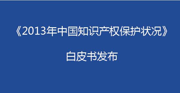 《2013年中国知识产权保护状况》白皮书发布