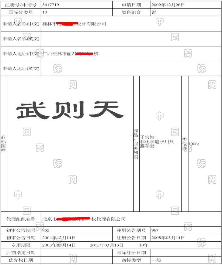 武则天第10类商标注册情况