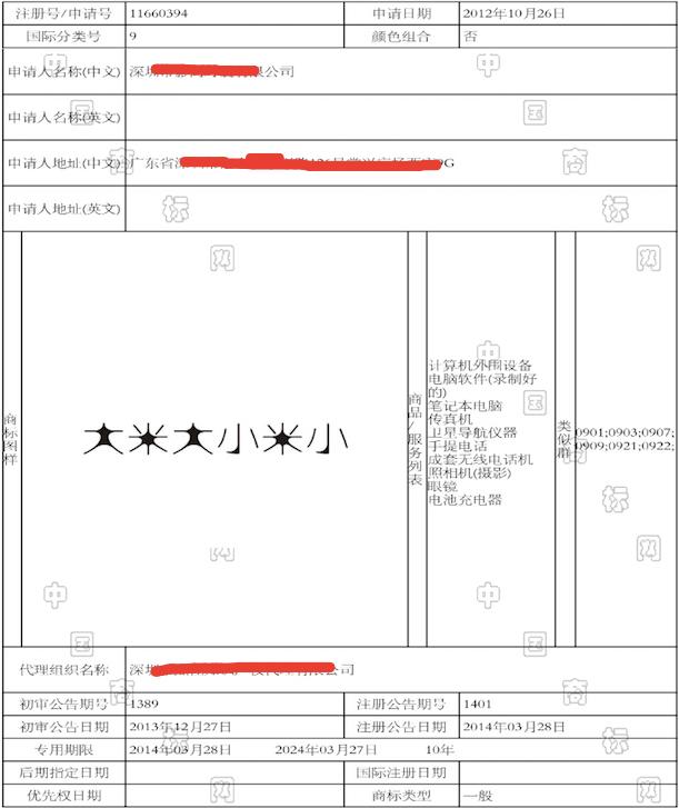 中国标局商标检测 大米大小米小   chinabiaoju商标检测 近似商标公告