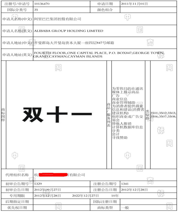 中国标局双十一商标阿里巴巴 第35类