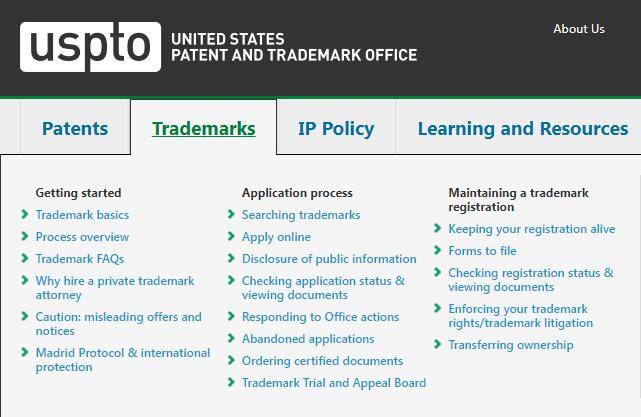 美国专利商标局网站截图