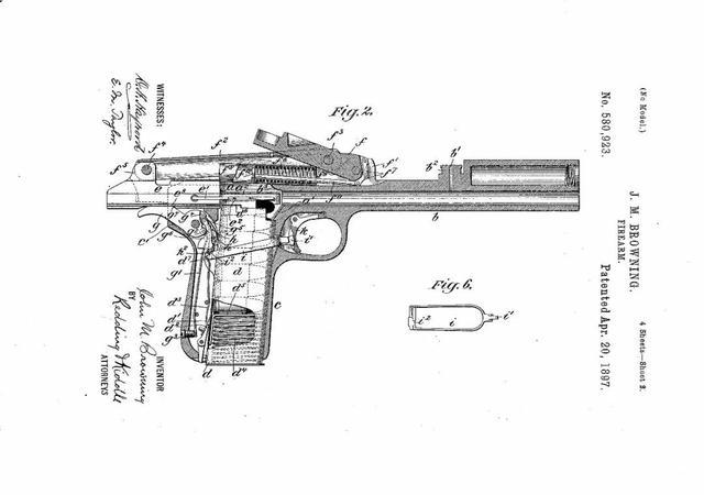 关于专利附图 来欣赏这把美国120多年前申请的勃郎宁firearm专利