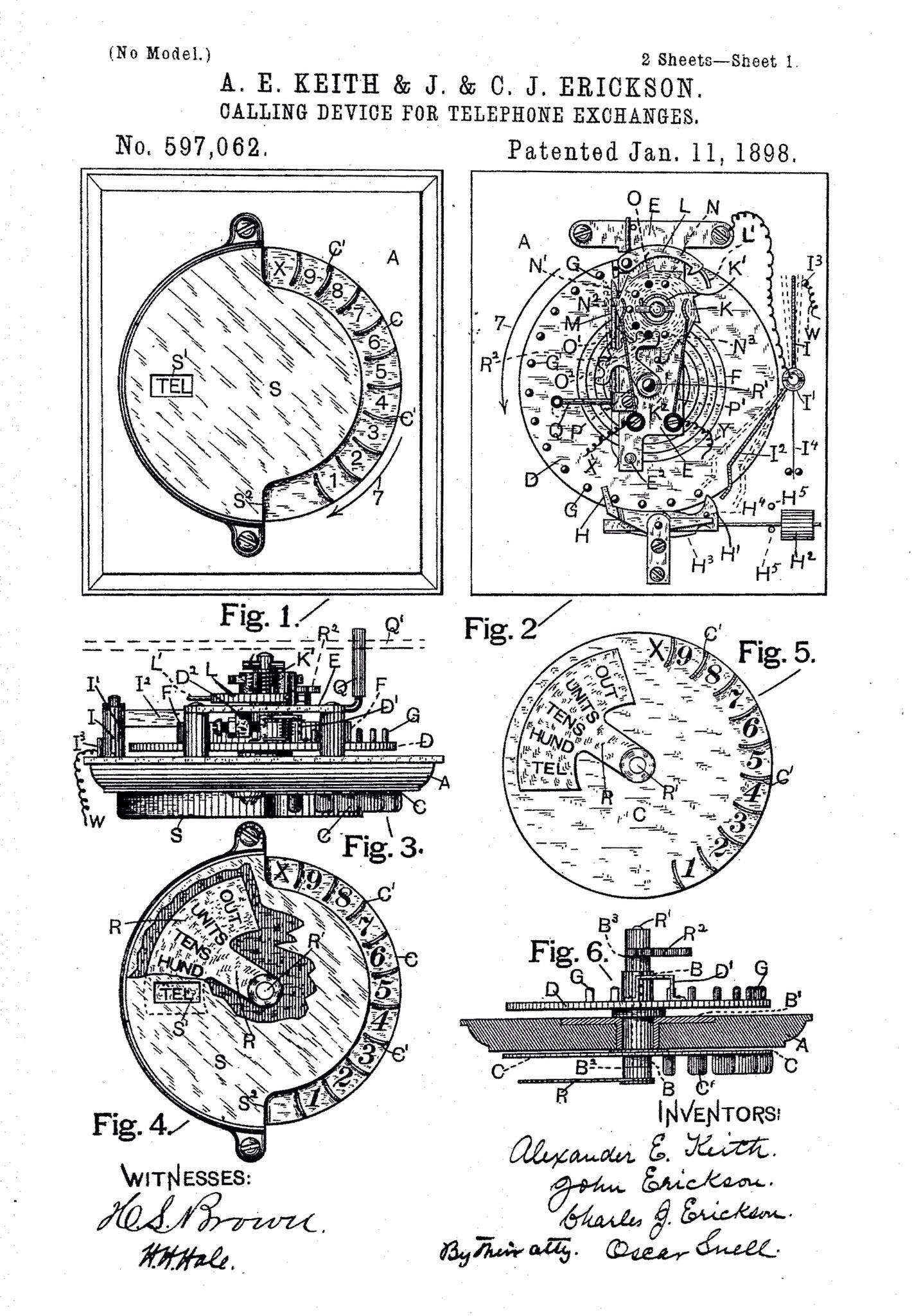 当电话刚发明的时候,需要联系接线员才能打电话。#1896年8月20日,John和Charles J. Erickson兄弟和Alexander E. Keith申请了旋转拨号电话的专利。1898年1月11日颁发专利。.jpg
